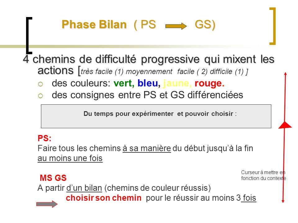 Phase Bilan ( PS GS) 4 chemins de difficulté progressive qui mixent les actions [très facile (1) moyennement facile ( 2) difficile (1) ]